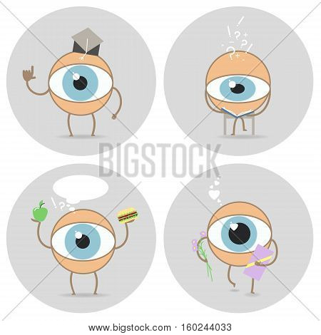 Eyes cartoon icon. Reads scientist love glance food for the eyes. Vector