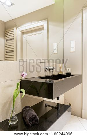 Bathroom With Dark Sink And Mirror