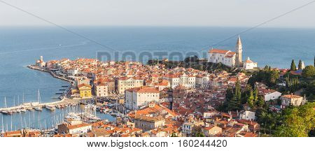 Picturesque old town Piran on Slovenian adriatic coast in afternoon sun.