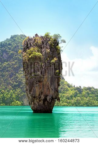 Thai stone island with the sea. Island in Thailand.