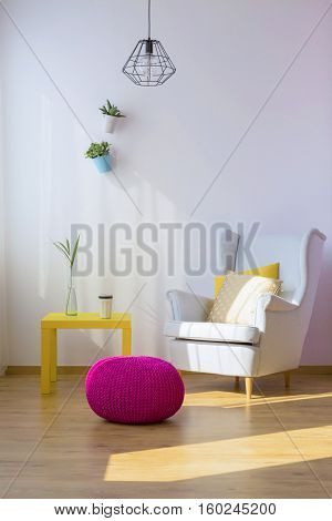 Armchair, Pouf And Table
