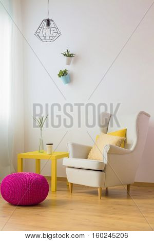 Living Room With White Walls