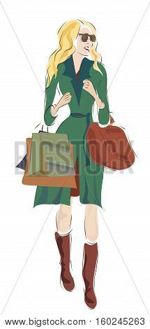 Beautiful Blond Woman with Bags On Shopping