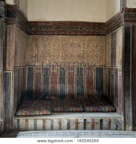 Cairo, Egypt - November 19, 2016: Built-in arabian bench (couch) at El Sehemy house, an old Ottoman era house, originally built in 1648