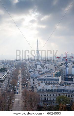 View From The Arc De Triumph Across Paris