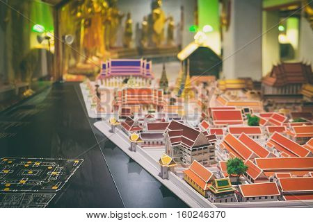 Bangkok, Thailand - December 7, 2015: Interactive map with models of buildings located on the territory of Wat Pho public temple, Bangkok, Thailand.