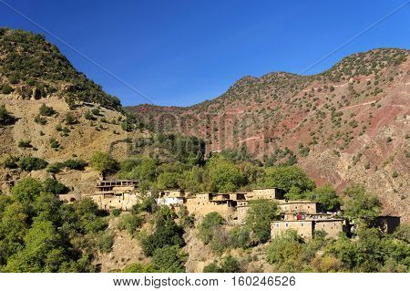 Moroccan village in the Atlas mountains, Morocco, Africa