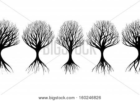Horizontal seamless pattern. Hand drawn black trees silhoutte. Vector abstract trees.