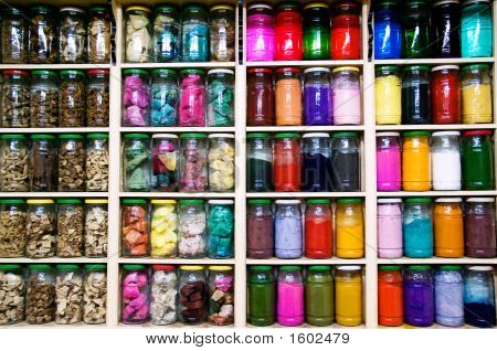 Row of spice and medical hebs jars poster