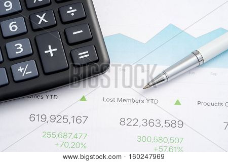 Business report calculator and ballpoint pen .