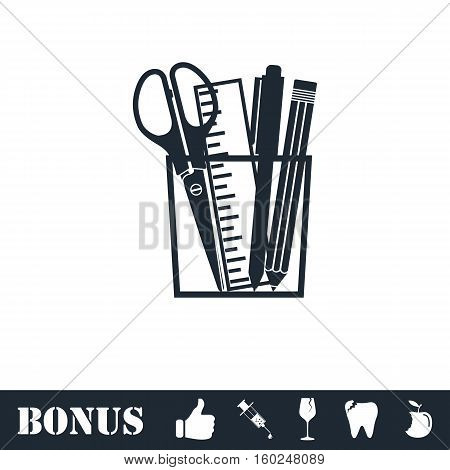 Office tools icon flat. Vector illustration symbol and bonus pictogram