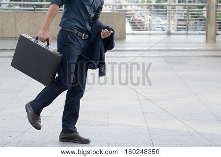 Businessman walking, work, away, success, handsome, job