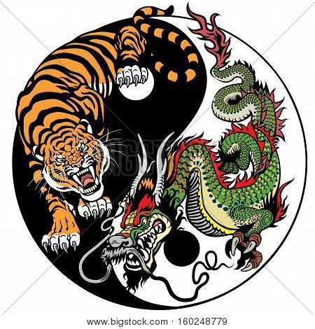 dragon and tiger yin yang symbol of harmony and balance. Vector illustration