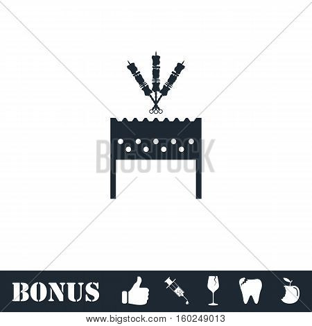Barbecue grill with shashlik icon flat. Vector illustration symbol and bonus pictogram