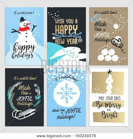 Christmas and New year greeting card concepts. Set od flat design vector illustrations for greeting cards, web banners and print material design.