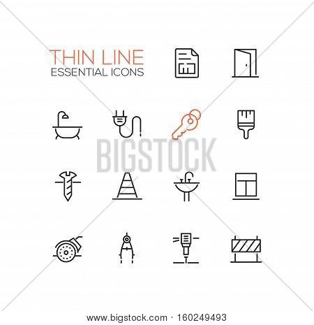 Home, road Repair - modern vector simple thin line design icons and pictograms set. Plan, door, bath, plug, key, paint brush, screw, road cone, sink, window, angle grinder compasses jackhammer sign