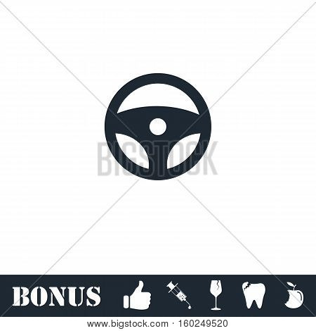 Steering Wheel icon flat. Vector illustration symbol and bonus pictogram