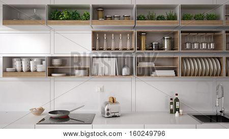 Scandinavian white kitchen shelving system minimalistic interior design, 3d illustration