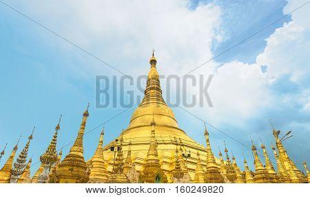 Yangon Myanmar skyline with Shwedagon Pagoda, landmark of Myanmar