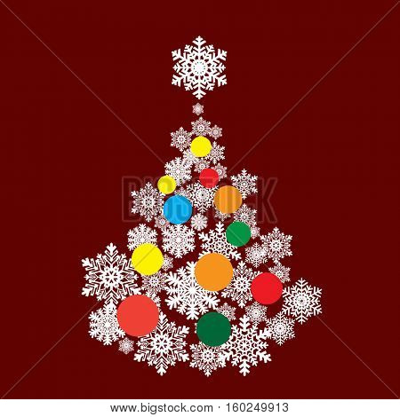 Christmas tree from snowflakes. Happy New Year. Vector ilustration.