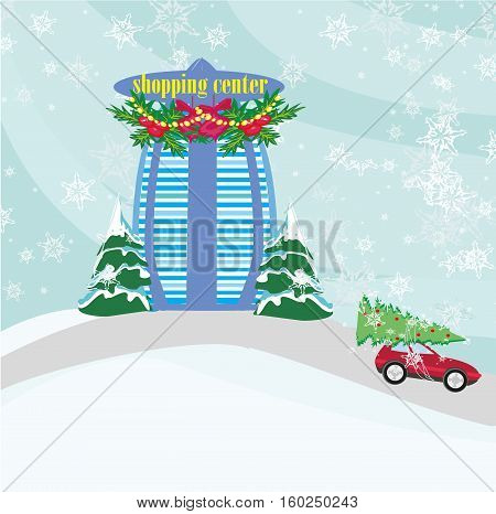 shopping center and winter landscape , vector illustration