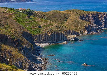View over Cap l'Abeille a cape located between Banyuls-sur-Mer and Cerbere. This area is a marine nature reserve favorite for scuba diving.