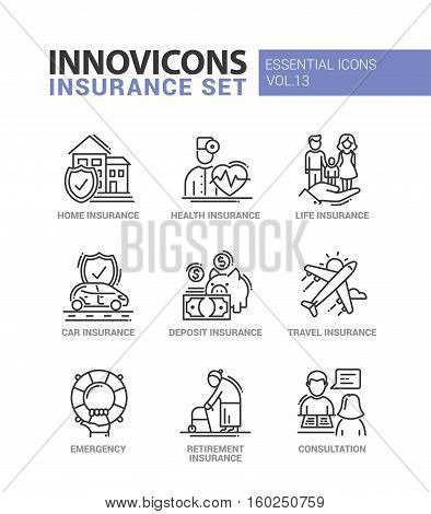 Types of Insurance - modern vector thin line flat design icons and pictograms set. Home, health, life, car, deposit, travel, retirement insurance, emergency, consultation