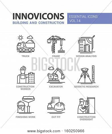 Building and construction - modern vector oil industry flat design icons and pictograms. Truck, crane, analysis, worker, excavator, geodetic research, finishing work, outfit, oversight