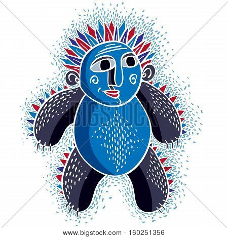 Vector Cool Cartoon Funny Monster, Simple Weird Creature. Clipart Mythic Character For Use In Graphi
