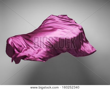 piece of purple fabric flying - abstract art object, design element