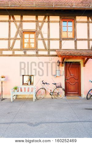 wall of half-timbered old house - details of Rothenburg ob der Tauber, Germany