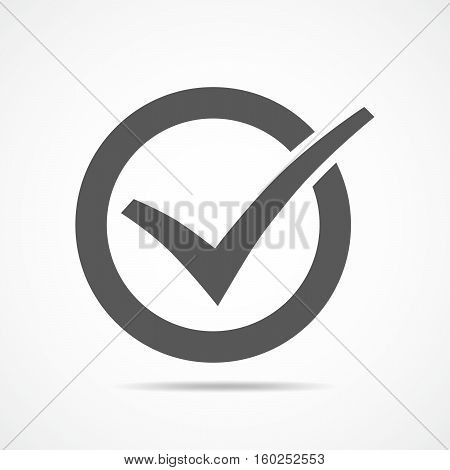 Gray check mark in the circle. Vector illustration. Gray check mark