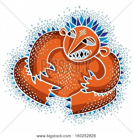 Vector Cool Cartoon Angry Monster, Simple Weird Creature. Clipart Mythic Character For Use In Graphi