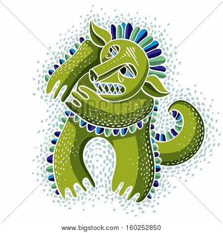 Character Monster Vector Flat Illustration, Cute Green Mutant. Drawing Of Weird Beast, Emotional Exp