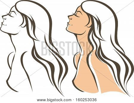 Outline portrait of a young beautiful woman