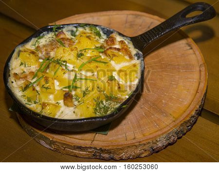 Potatoes Fried With Egg And Green Onions.