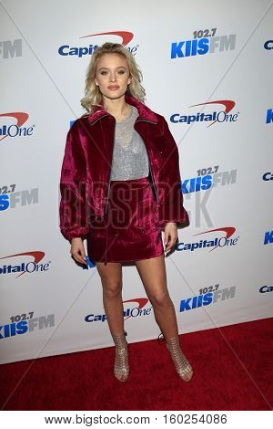 LOS ANGELES - DEC 2:  Zara Larsson at the 02.7 KIIS FM's Jingle Ball 2016 at Staples Center on December 2, 2016 in Los Angeles, CA