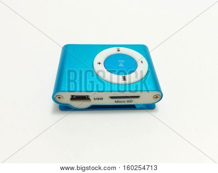 Blue Mp3 Player on a white background