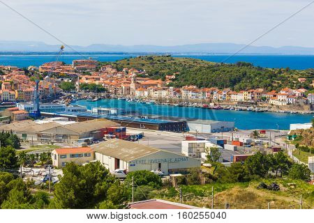 PORT-VENDRES FRANCE - JUNE 26 2016: View of the Mediterranean town and fishing harbor of Port-Vendres France