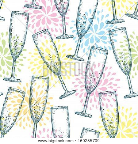 Vector seamless pattern with dotted champagne glass or flute on the white background with stylized fireworks. Pattern in dotwork style with champagne glass for restaurant and celebration design.