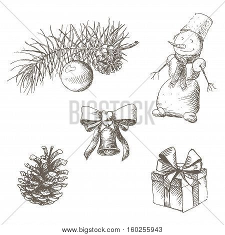 Christmas and new year objects set. Pinecone, fir branch, bell, toy, snowman, gift and bow. Isolated on white background. Vintage engraving illustration. Hand drawn vector picture. Xmas collection.