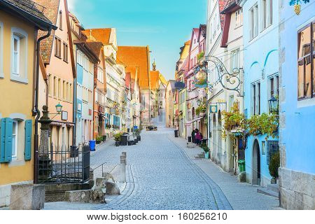 street with half-timbered houses of Rothenburg ob der Tauber, Germany