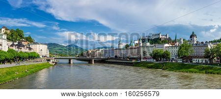 SALZBURG, AUSTRIA - MAY 1, 2012: Panorama of Salzburg Old Town and Hohensalzburg Castle on Festungsberg hill over Salzach river. Salzburgs Altstadt is internationally renowned for baroque architecture
