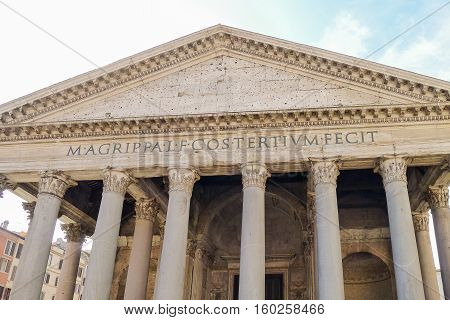 The Pantheon is a former Roman temple now a church in Rome Italy.