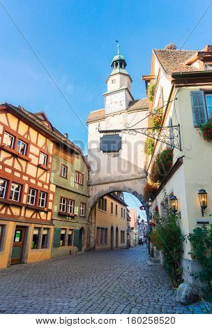 small street with half-timbered houses of Rothenburg ob der Tauber, Germany