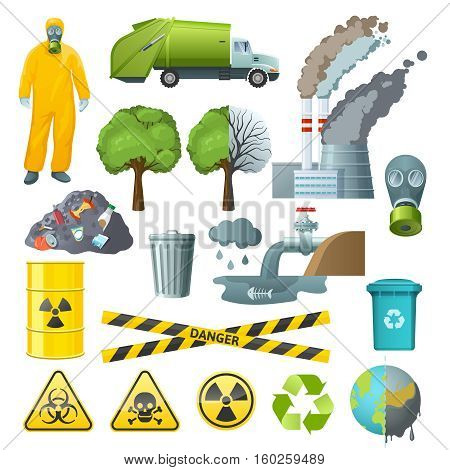 Set of isolated cartoon style decorative icons with radioactive chemical pollution infographic signs and environmental symbols vector illustration