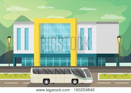 Shopping center building street lighting and bus on road natural landscape in background orthogonal vector illustration