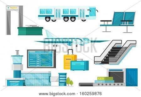 Set of isolated airport elements with terminal airplane and bus luggage and security system orthogonal vector illustration