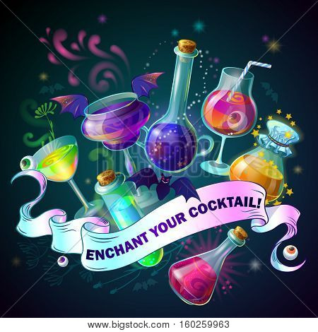Magic Bottles colored composition with poison flask and headline enchant your cocktail vector illustration