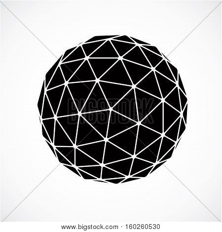 3D Vector Low Poly Black And White Spherical Object, Perspective Orb Created With Triangular Facets.